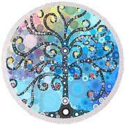 Whimsical Tree Round Beach Towel