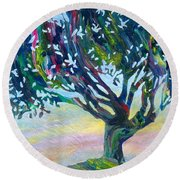 Whimsical Tree Pastel Sky Round Beach Towel by Denise Hoag