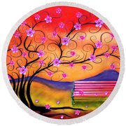 Round Beach Towel featuring the digital art Whimsy Cherry Blossom Tree-1 by Nina Bradica
