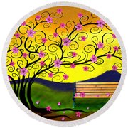 Round Beach Towel featuring the digital art Whimsy Cherry Blossom Tree-2 by Nina Bradica