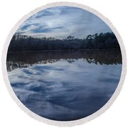 Whipped Cream Reflection Round Beach Towel by Donna Brown