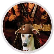 Whippet Art - Pirates Of The Caribbean The Curse Of The Black Pearl Movie Poster Round Beach Towel