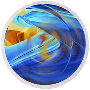 Whisper In Blue Round Beach Towel by rd Erickson