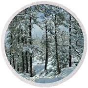 Whispering Snow Round Beach Towel