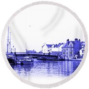 Round Beach Towel featuring the photograph Whitby Harbor by Jane McIlroy