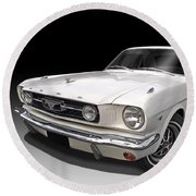 White 1966 Mustang Round Beach Towel