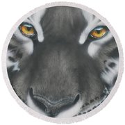 White And Black Tiger Round Beach Towel