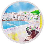 White And Blue 2 Round Beach Towel