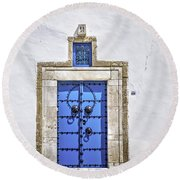 White And Blue Round Beach Towel