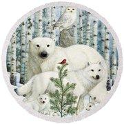 White Animals Red Bird Round Beach Towel