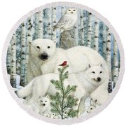 White Animals Red Bird Round Beach Towel