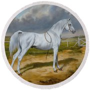 White Arabian Stallion Round Beach Towel