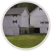 White Barns Round Beach Towel by Fran Gallogly
