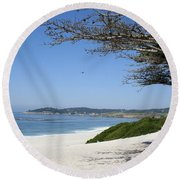 White Beach At Carmel Round Beach Towel by Christiane Schulze Art And Photography