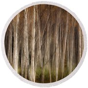 White Birch Abstract Round Beach Towel