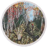 Round Beach Towel featuring the painting White Birch Trail Ride by Jeffrey Koss