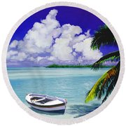 Round Beach Towel featuring the painting White Boat On A Tropical Island by David  Van Hulst
