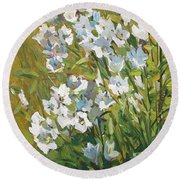 White Campanulas Round Beach Towel