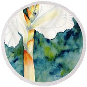 White Canna Flower Round Beach Towel by Carlin Blahnik