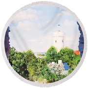 White Castle In Tallinn Estonia Round Beach Towel