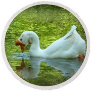 White Chinese Goose Curtsy  Round Beach Towel