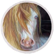 Round Beach Towel featuring the painting White Chocolate Stallion by Karen Kennedy Chatham