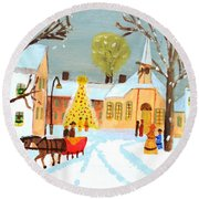 Round Beach Towel featuring the painting White Christmas by Magdalena Frohnsdorff