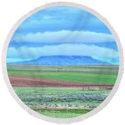 Round Beach Towel featuring the photograph White Clouds Blue Mesa I by Lanita Williams