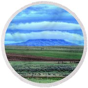 Round Beach Towel featuring the photograph White Clouds Blue Mesa II by Lanita Williams