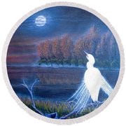 White Crane Dancing In The Light Of The Moon Round Beach Towel