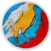 Round Beach Towel featuring the painting White Crow by Ana Maria Edulescu
