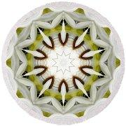 White Daisies Kaleidoscope Round Beach Towel by Rose Santuci-Sofranko