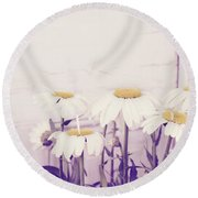 White Daisy Mums Round Beach Towel