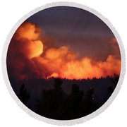 Round Beach Towel featuring the photograph White Draw Fire First Night by Bill Gabbert