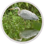 White Egret Double  Round Beach Towel by Susan Garren