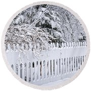 White Fence With Winter Trees Round Beach Towel