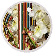 White Flower Medley Colorful Rainbow Stripes On The Backdrop Artist Navinjoshi  Round Beach Towel