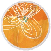 White Flower On Orange Round Beach Towel