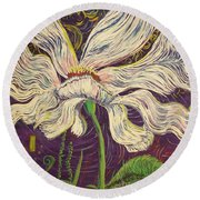 White Flower Series 6 Round Beach Towel