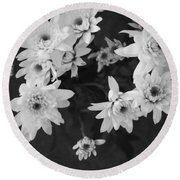 White Flowers- Black And White Photography Round Beach Towel
