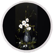 White Flowers In A Vase Round Beach Towel