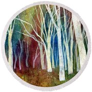 White Forest I Round Beach Towel by Hailey E Herrera