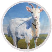 White Goat Round Beach Towel