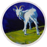 White Goat Painting Round Beach Towel