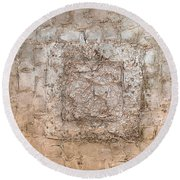 White Gold Mixed Media Triptych Part 2 Round Beach Towel
