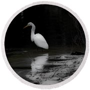 White Heron Round Beach Towel