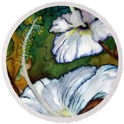White Hibiscus Round Beach Towel by Lil Taylor