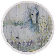Round Beach Towel featuring the painting White Horse In The Rain by Avonelle Kelsey