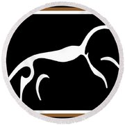 White Horse Of Uffington Round Beach Towel by Vagabond Folk Art - Virginia Vivier