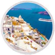 White Houses Of Santorini Round Beach Towel by Lanjee Chee